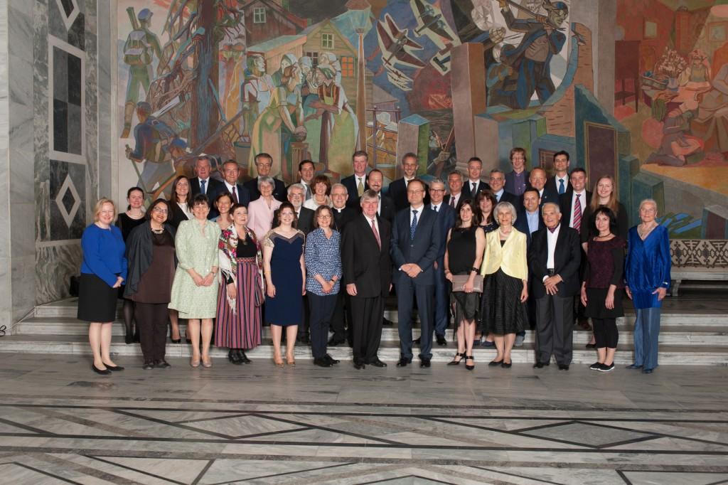 Vinnere av EUs kulturminnepris/Europa Nostra Awards 2015, avbildet i Oslo Rådhus